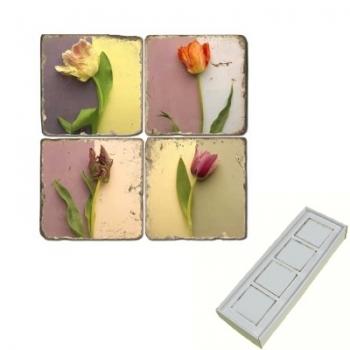 Aimants en marbre, coffret de 4, motif tulipes, finition antique, L 5 x l 5 x h 1 cm