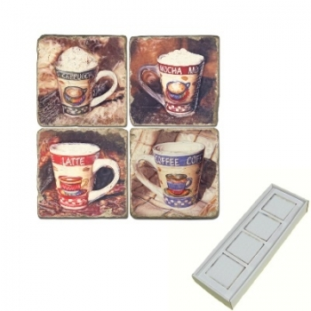 Marble Memo Magnets, set of 4, illustration theme Coffee Cups 2, antique finish, l 5 x w 5 x h 1 cm