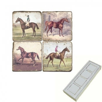 Aimants en marbre, coffret de 4, motif chevaux 2, finition antique, L 5 x l 5 x h 1 cm