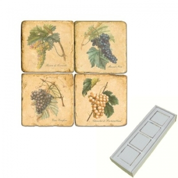 Marble Memo Magnets, set of 4, illustration theme Grapes 1, antique finish, l 5 x w 5 x h 1 cm