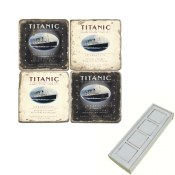Aimants en marbre, coffret de 4, motif le Titanic, finition antique, L 5 x l 5 x h 1 cm