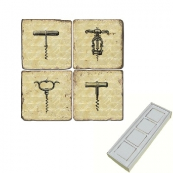 Aimants en marbre, coffret de 4, motif tire-bouchons, finition antique, L 5 x l 5 x h 1 cm