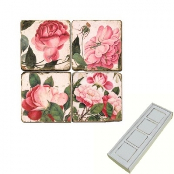 Aimants en marbre, coffret de 4, motif roses roses, finition antique, L 5 x l 5 x h 1 cm