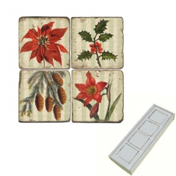 Marble Memo Magnets, set of 4, illustration theme Poinsettia, antique finish, l 5 x w 5 x h 1 cm