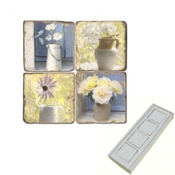 Marble Memo Magnets, set of 4, illustration theme Flower Stills, antique finish, l 5 x w 5 x h 1 cm