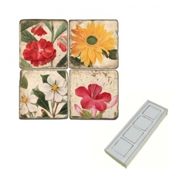 Marble Memo Magnets, set of 4, illustration theme Summer Flowers 1, antique finish, l 5 x w 5 x h 1 cm
