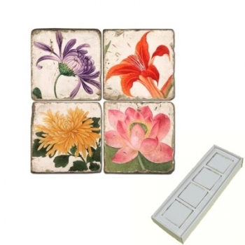 Marble Memo Magnets, set of 4, illustration theme Summer Flowers 2, antique finish, l 5 x w 5 x h 1 cm