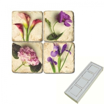 Marble Memo Magnets, set of 4, illustration theme Summer Flowers 3, antique finish, l 5 x w 5 x h 1 cm