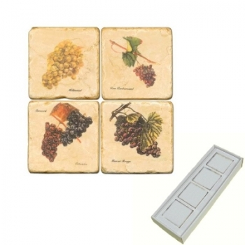 Aimants en marbre, coffret de 4, motif raisins 2, finition antique, L 5 x l 5 x h 1 cm