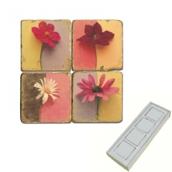 Marble Memo Magnets, set of 4, illustration theme Blossoms, antique finish, l 5 x w 5 x h 1 cm
