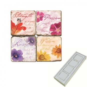 Aimants en marbre, coffret de 4, motif citations, finition antique, L 5 x l 5 x h 1 cm