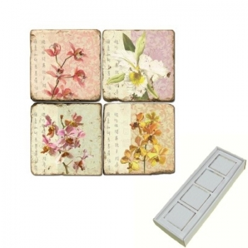 Marble Memo Magnets, set of 4, illustration theme Blooming Branches, antique finish, l 5 x w 5 x h 1 cm