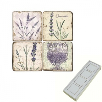 Marble Memo Magnets, set of 4, illustration theme Store Lavender, antique finish, l 5 x w 5 x h 1 cm