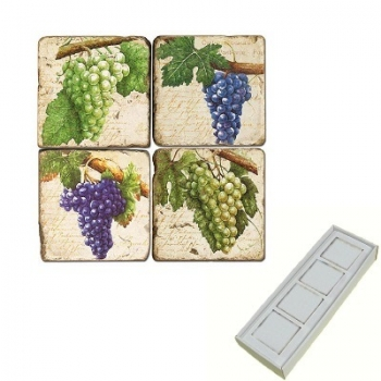 Marble Memo Magnets, set of 4, illustration theme Grapes 3, antique finish, l 5 x w 5 x h 1 cm