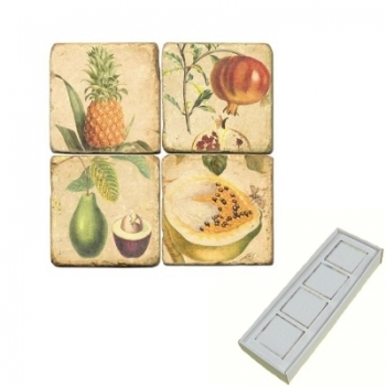 Marble Memo Magnets, set of 4, illustration theme Tropical Fruits, antique finish, l 5 x w 5 x h 1 cm