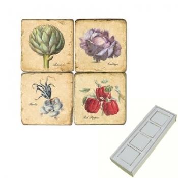 Aimants en marbre, coffret de 4, motif légumes 1, finition antique, L 5 x l 5 x h 1 cm