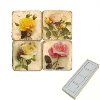 Marble Memo Magnets, set of 4, illustration theme Roses, antique finish, l 5 x w 5 x h 1 cm