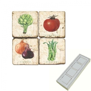 Aimants en marbre, coffret de 4, motif légumes 2, finition antique, L 5 x l 5 x h 1 cm