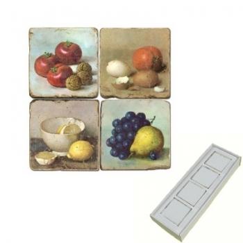 Aimants en marbre, coffret de 4, motif natures mortes, finition antique, L 5 x l 5 x h 1 cm