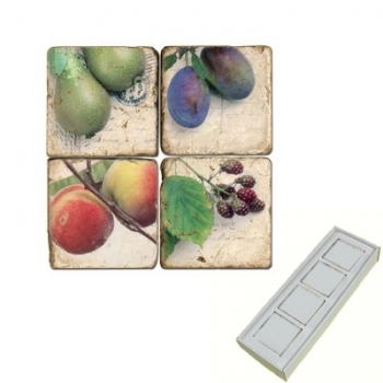 Marble Memo Magnets, set of 4, illustration theme Fruit, antique finish, l 5 x w 5 x h 1 cm
