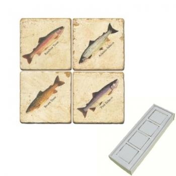 Aimants en marbre, coffret de 4, motif truite et saumon, finition antique, L 5 x l 5 x h 1 cm