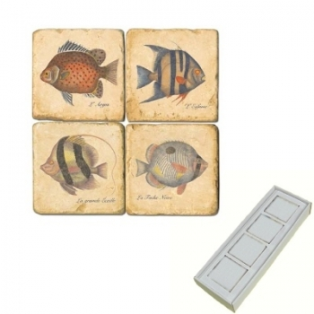 Marble Memo Magnets, set of 4, illustration theme Tropical Fishes, antique finish, l 5 x w 5 x h 1 cm