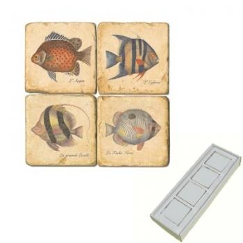 Aimants en marbre, coffret de 4, motif poissons exotiques, finition antique, L 5 x l 5 x h 1 cm