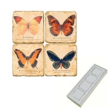 Marble Memo Magnets, set of 4, illustration theme Butterflies, antique finish, l 5 x w 5 x h 1 cm