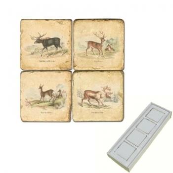 Marble Memo Magnets, set of 4, illustration theme Deer, antique finish, l 5 x w 5 x h 1 cm