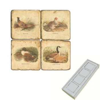 Marble Memo Magnets, set of 4, illustration theme Wild Birds, antique finish, l 5 x w 5 x h 1 cm