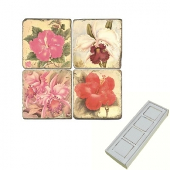 Marble Memo Magnets, set of 4, illustration theme Tropical Flowers, antique finish, l 5 x w 5 x h 1 cm