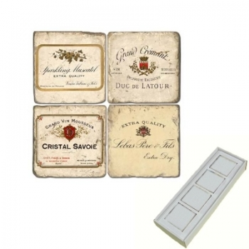 Marble Memo Magnets, set of 4, illustration theme Champagne Labels, antique finish, l 5 x w 5 x h 1 cm