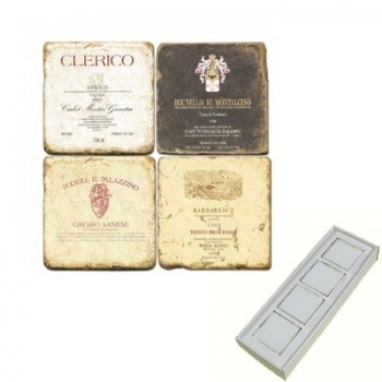 Marble Memo Magnets, set of 4, illustration theme Italian Wine Labels 2, antique finish, l 5 x w 5 x h 1 cm