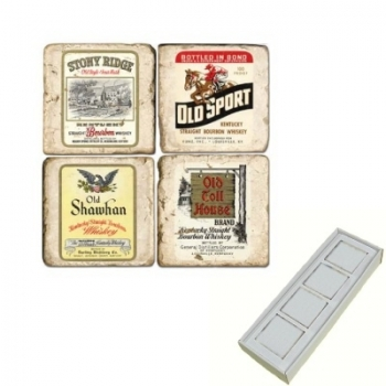 Aimants en marbre, coffret de 4, motif whisky, finition antique, L 5 x l 5 x h 1 cm