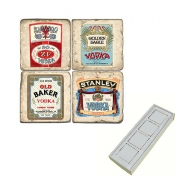 Aimants en marbre, coffret de 4, motif vodka, finition antique, L 5 x l 5 x h 1 cm