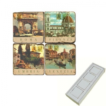 Marble Memo Magnets, set of 4, illustration theme Italian Cities, antique finish, l 5 x w 5 x h 1 cm