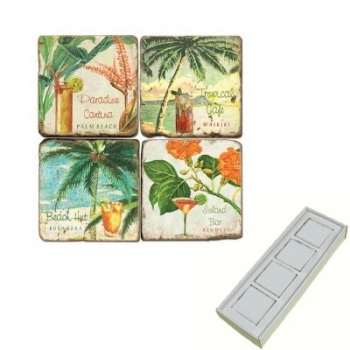 Aimants en marbre, coffret de 4, motif cocktails exotiques, finition antique, L 5 x l 5 x h 1 cm