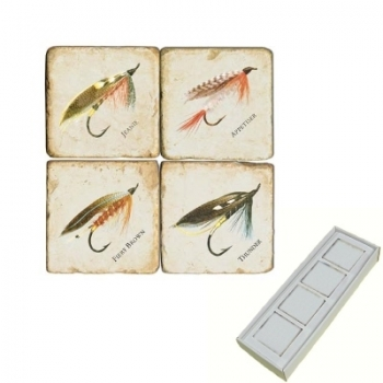 Marble Memo Magnets, set of 4, illustration theme Fishing Flies 1, antique finish, l 5 x w 5 x h 1 cm