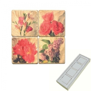 Marble Memo Magnets, set of 4, illustration theme Flower Mix, antique finish, l 5 x w 5 x h 1 cm