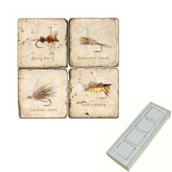 Marble Memo Magnets, set of 4, illustration theme Fishing Flies 2, antique finish, l 5 x w 5 x h 1 cm