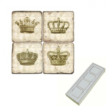 Marble Memo Magnets, set of 4, illustration theme Crowns, antique finish, l 5 x w 5 x h 1 cm