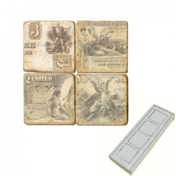 Marble Memo Magnets, set of 4, illustration theme Banknotes, antique finish, l 5 x w 5 x h 1 cm
