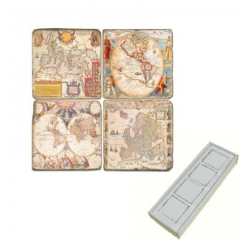Aimants en marbre, coffret de 4, motif cartes anciennes, finition antique, L 5 x l 5 x h 1 cm