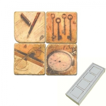 Marble Memo Magnets, set of 4, illustration theme Antiques, antique finish, l 5 x w 5 x h 1 cm