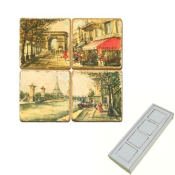 Marble Memo Magnets, set of 4, illustration theme Romantic Paris, antique finish, l 5 x w 5 x h 1 cm