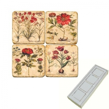 Marble Memo Magnets, set of 4, illustration theme Red Flowers, antique finish, l 5 x w 5 x h 1 cm