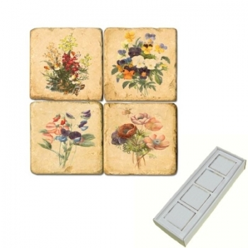 Marble Memo Magnets, set of 4, illustration theme Spring Flowers, antique finish, l 5 x w 5 x h 1 cm
