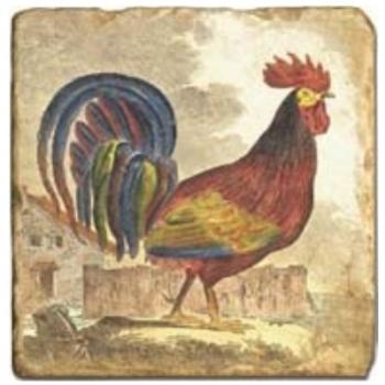 Carrelage en marbre, motif coq 1A, finition antique, illet pour l'accroche, pieds antidérapants, L 20 xl 20 x h 1 cm