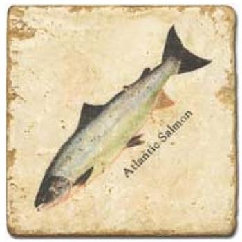 Carrelage en marbre, motif saumon B, finition antique, illet pour l'accroche, pieds antidérapants, L 20 xl 20 x h 1 cm