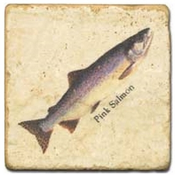 Marble Tile, Theme: Trouts C, antique finish, hanger, anti slip nubs, Dim.: l 20 x w 20 x h 1 cm